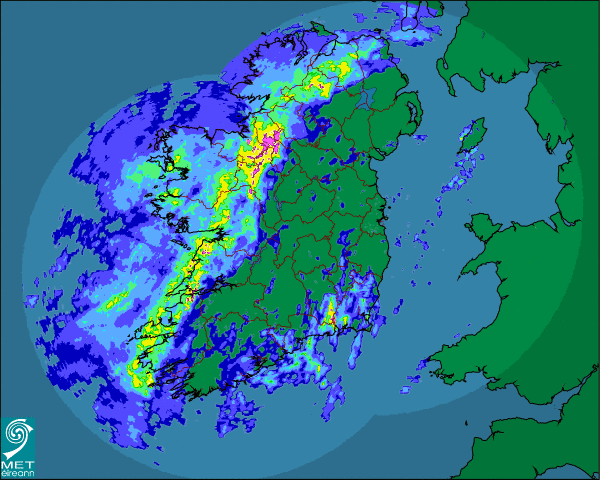 Screengrab from rainfall radar at 1am. Image c/o www.met.ie